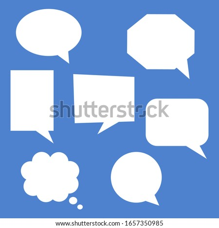 blank white speech bubbles set. dialogue chat boxes with different shape isolated on blue background. vector illustration