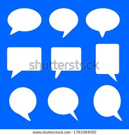 blank white speech bubbles set isolated on blue background. vector illustration