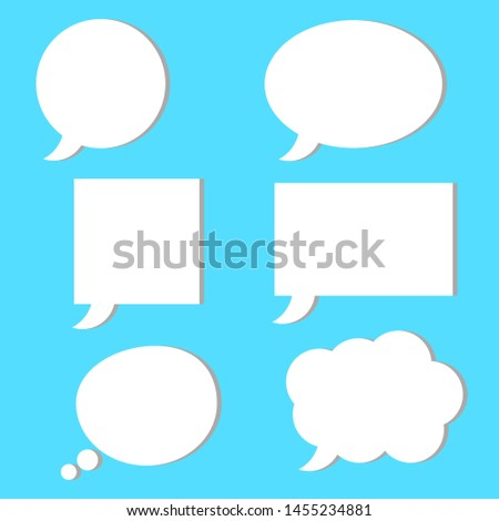 blank white speech bubbles set with different simple shape isolated on blue background. vector illustration