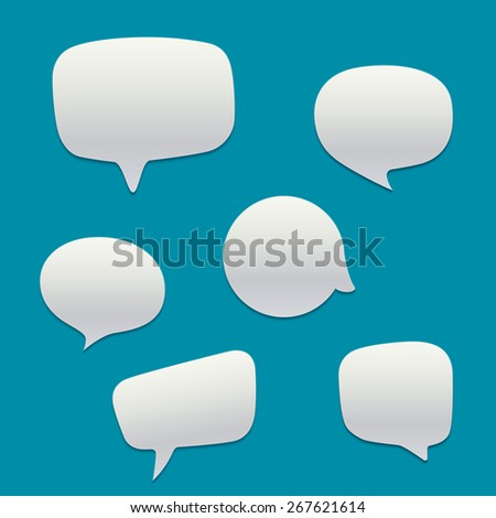 Blank  white speech bubbles. Vector template