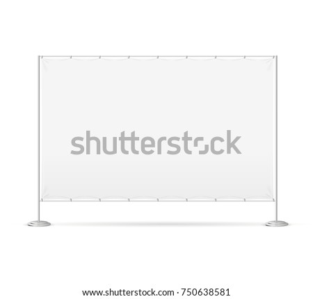 Blank White Textile Banner Billet Press Wall for Fair, Festival, Expo or Shop Canvas and Frame. Vector illustration of Stand