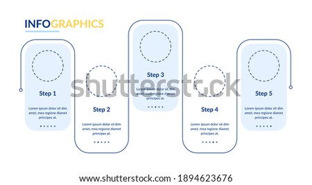 Blank white vector infographic template. Flowchart presentation design elements with text space. Data visualization with 5 steps. Process timeline chart. Workflow layout with copyspace