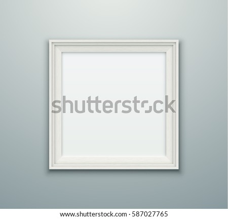 Blank white vector photo frame. Empty realistic square frame hanging on the wall.