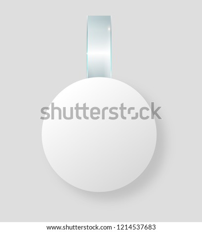 Blank white wobbler hang on wall mock up, 3d rendering. Space round paper mockup on plastic transparent strip. Clear price sticker circle shape. Pricing tag label template isolated. Vector