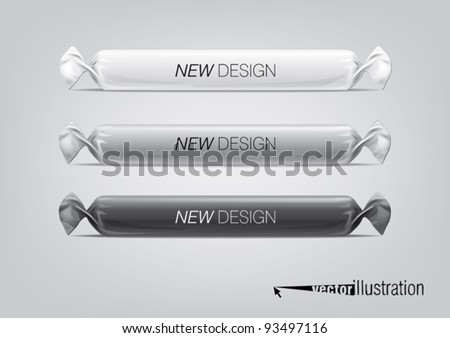 Blank white wrap candy package for new design. Eps10 vector