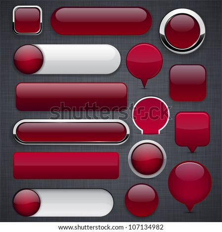 Blank wine red web buttons for website or app. Vector eps10.