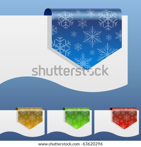 Blank winter discount labels bent around paper edge with snowflake shapes.
