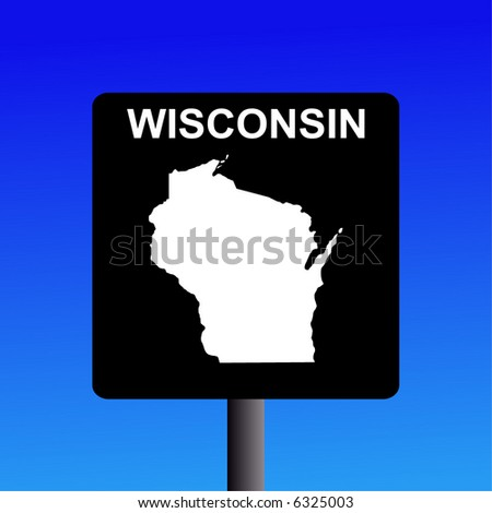 Blank Wisconsin highway sign on blue illustration