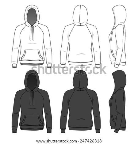 blank women's hoodie in front