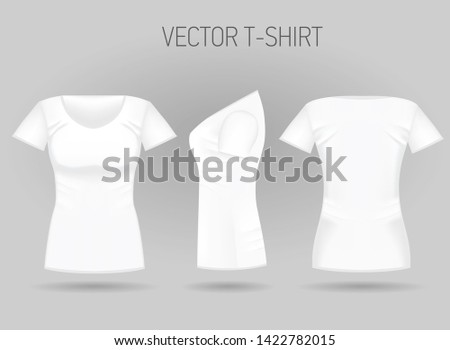 da7e8c0b Blank women's white t-shirt in front, back and side views. Vector  illustration