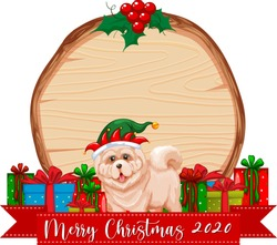 Blank wooden board with Merry Christmas 2020 font logo and cute dog illustration