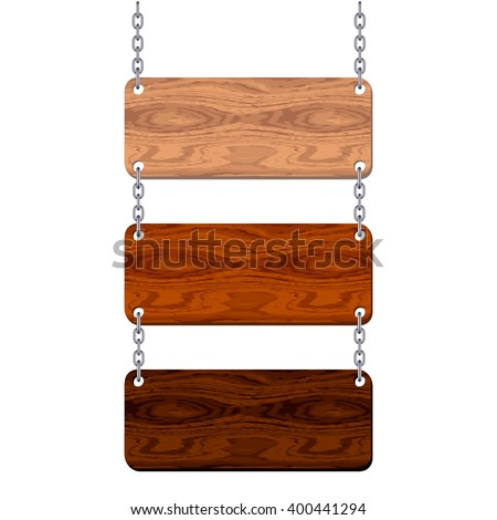 Blank wooden signboard set hanging on chain isolated on white background. Vector illustration.