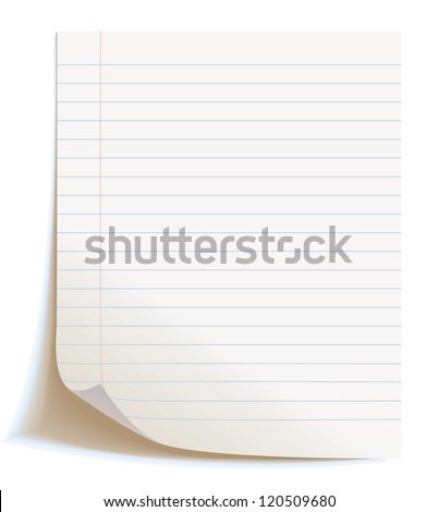 Blank worksheet exercise book. Isolated on white background, vector illustration