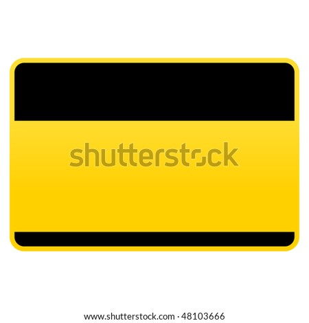 Yellow hazard warning blank name tag empty sticker isolated on white background