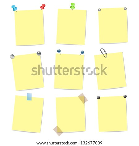 blank yellow note items with pins