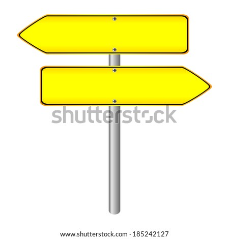 Blank  yellow road sign on white background.