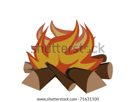 Blazing fire on a white background