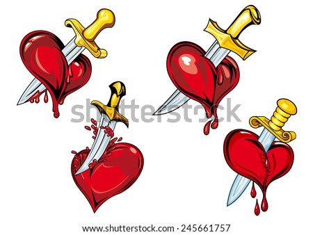 bleeding hearts with daggers in