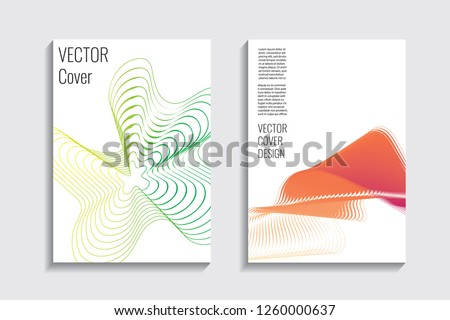 Blended covers, gradient wavy line shapes. Futuristic minimal design. Abstract cyber background. Modern visual effect. Repeating lines. For poster, layout, placard, grunge paper, card, book #1260000637