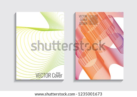 Blended covers with gradient wavy lines. Futuristic minimalistic design with multi-colored bionic background. Hi-tech. A4 format. Eps10 vector. For poster, layout, placard, grunge paper, card, book. #1235001673
