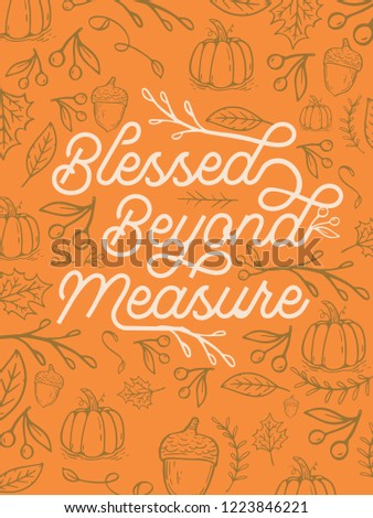 Blessed Beyond Measure Background Fall Thanksgiving Pumpkins