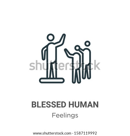 Blessed human outline vector icon. Thin line black blessed human icon, flat vector simple element illustration from editable feelings concept isolated on white background