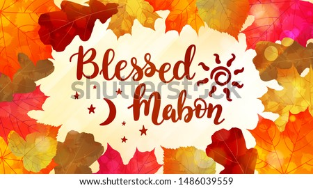Blessed Mabon - handwritten lettering quote symbolizing equal duration of daytime and nighttime. Vector illustration of the autumn equinox.