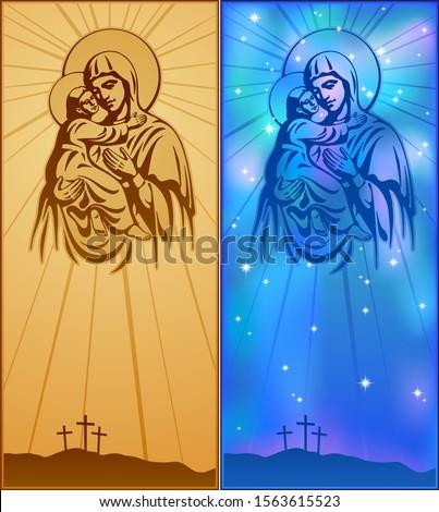 Blessed Virgin Mary, Jesus Christ, blessing, Christianity, Vector illustration