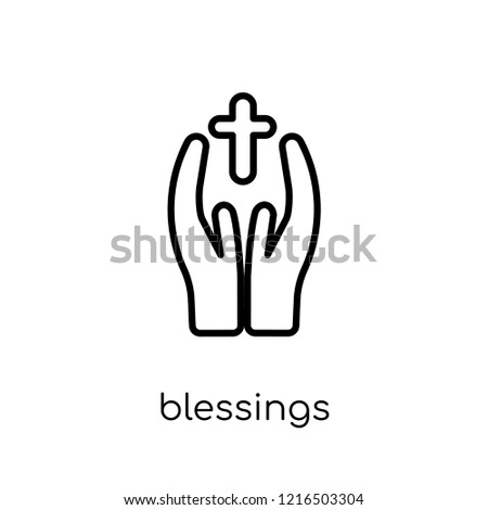 blessings icon. Trendy modern flat linear vector blessings icon on white background from thin line United States of America collection, editable outline stroke vector illustration