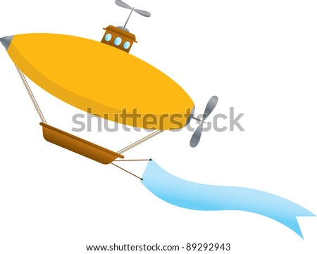 Blimp with blank wavy banner