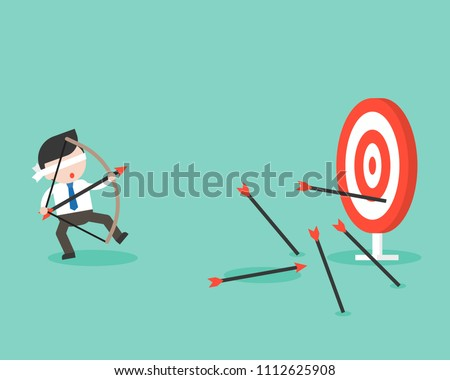 Blind businessman try to use bow and arrow for archery but missing the goal , business situation ready to use flat design