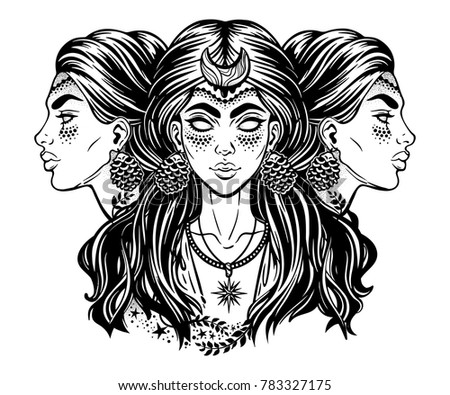Blind magic goddess Hecate. Triple faced beautiful woman with long hair, star moon. Bohemian, wiccan divine girl. Fantasy, spirituality, Greek mythology, tattoo art, witchcraft. Vector illustration.