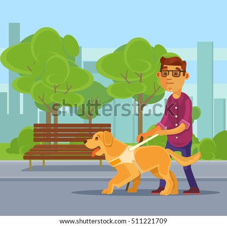 blind man character walking