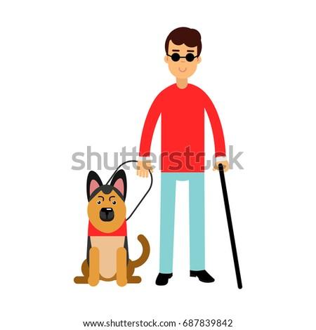 blind man in dark glasses with