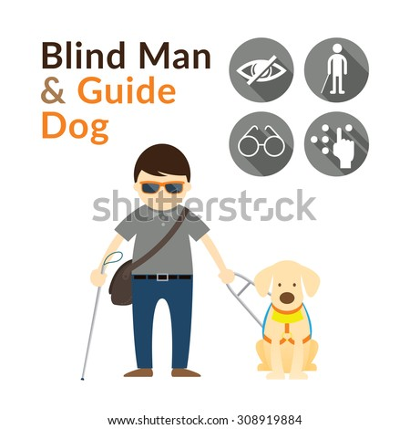 blind man with guide dog
