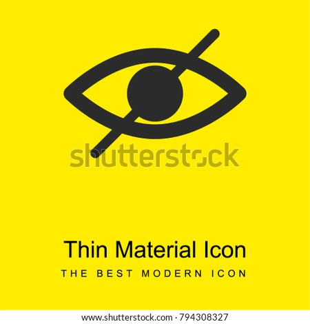 Blind symbol of an opened eye with a slash bright yellow material minimal icon or logo design