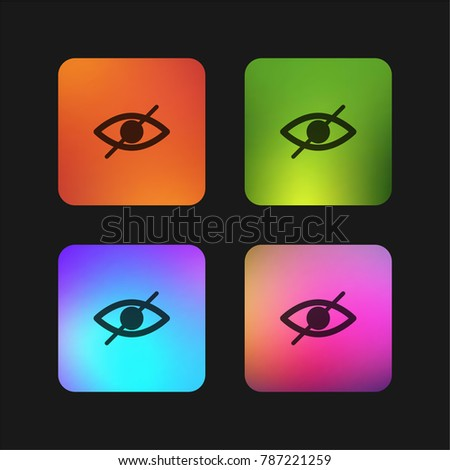 Blind symbol of an opened eye with a slash four color gradient app icon design