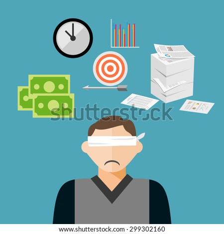 blindfold businessman has many