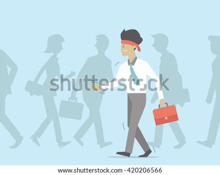 blindfolded businessman walking
