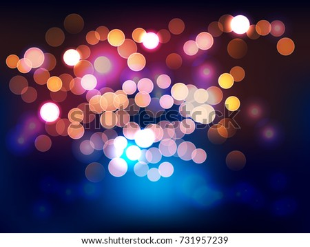 Blinking light in night. Vector background.