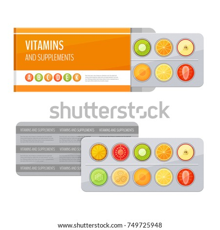 Blister pack of pills with fruit. Vitamins and supplements. Flat style, vector illustration.