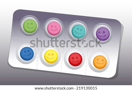 blister with eight colorful
