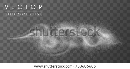 Blizzard and whirlwind. Foggy dynamic 3D effect. Vector isolated element.