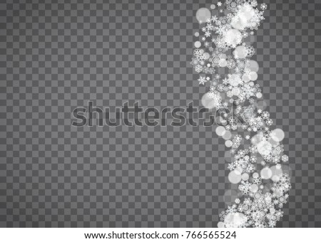 Blizzard snowflake on transparent background. Winter sales, Christmas and New Year design for party invitation, banner, sale. Horizontal winter window. Isolated blizzard with snowflakes. Silver flakes