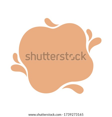 blob shape brown pastel soft for banner copy space, aqua background, cocoa brown milk blob splash on white, water blobs droplet wave shape for banner, milk blob simple for graphic ad design, vector