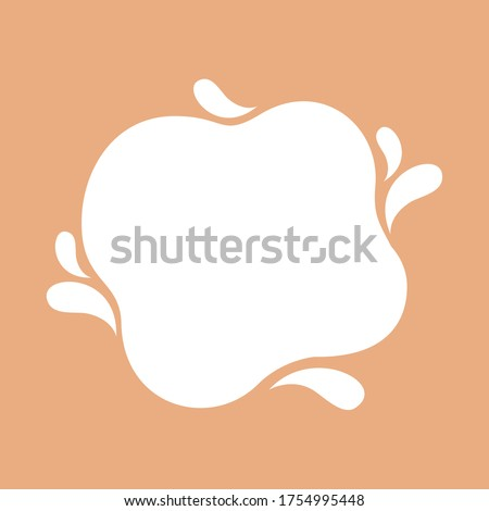 blob shape on brown pastel soft for banner copy space, aqua background, white milk blob splash on cocoa brown, water blobs droplet wave shape for banner, milk blob simple for graphic ad design