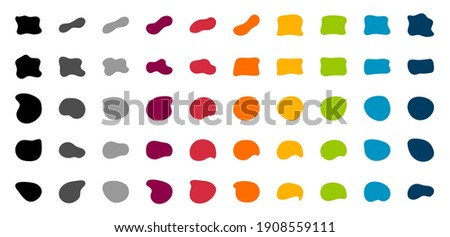 Blob shapes vector set. Organic abstract splodge elemets collection. Inkblot simple silhouette. Color, Black and white minimal forms isolated on white background