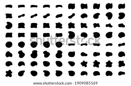 Blob shapes vector set. Organic abstract splodge elemets monochrome collection. Inkblot simple silhouette. Black and white minimal forms isolated on white background