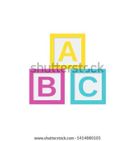 Block baby toy. ABC cubes. Vector. Kid toys icon isolated on white background in flat design. Cartoon illustration.