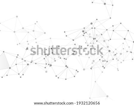 Block chain global network technology concept. Network nodes greyscale plexus background. Bionic ai innovations graphics. Global data exchange blockchain vector. Interlinkes nodes cells random grid.